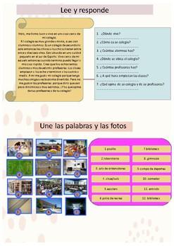 Spanish school description, mi colegio booklet for pre-intermediate