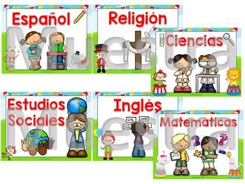 Spanish school subjects posters (Circo)