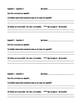 Spanish school supplies and ar verbs worksheet bundle