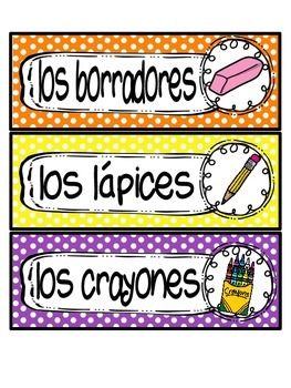 Spanish labels and poster: School Supplies theme!