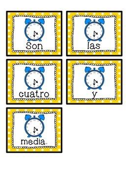 Spanish scrambled sentences: La hora