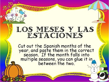 Spanish seasons & months- Cut and paste the months into the correct season