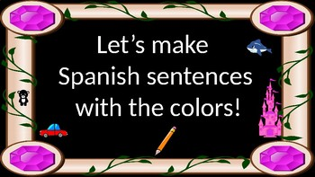 Spanish sentences with the colors