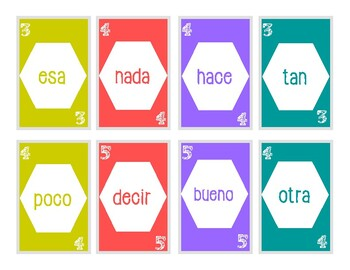 Spanish Sight Word UNO game: level 4-6