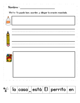 Spanish sight word center: Read, cut, paste, write, draw BUNDLE!