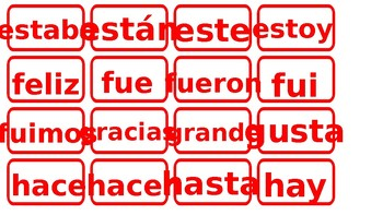 Spanish sight words for word wall in color red