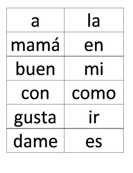 Spanish sight words/Palabras de alta frecuencia