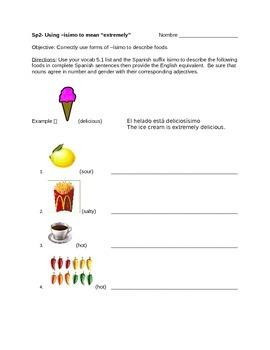 Spanish ísimo worksheet