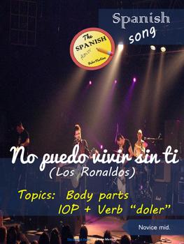 Spanish song: No puedo vivir sin ti (Los Ronaldos). Body parts. Doler. Novice m.