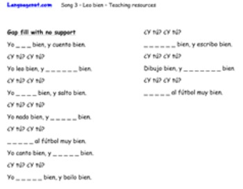 Spanish song and worksheets to teach simple present tense verbs