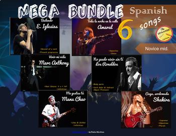 Spanish songs mega bundle (6 songs). Novice Mid. Presentations & Worksheets