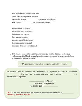 Spanish song/Cancion / Subjuntivo/ Oraciones temporales