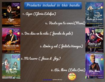 Spanish songs Mega Bundle (6 songs). Intermediate level