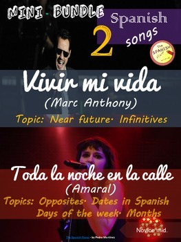 Spanish songs mini bundle: Vivir mi vida & Toda la noche en la calle. Novice mid