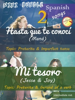 Spanish songs mini bundle: Hasta que te conocí & Mi tesoro. Intermediate Mid.