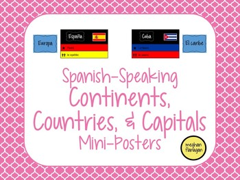 Spanish-speaking Nationalities, Continents, Countries, & Capitals Mini-Posters