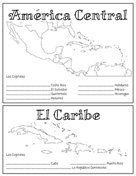 Spanish-speaking Countries and Capitals - Interactive Notebook Maps