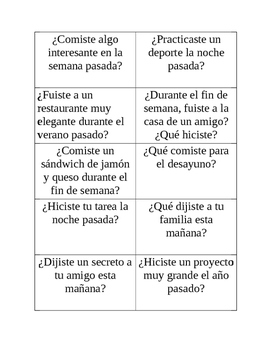 Spanish speaking cards preterit tense/el preterito