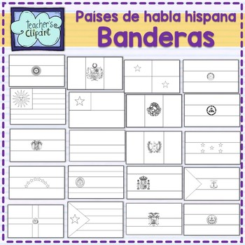 Spanish speaking countries FLAGS Banderas Países hispanohablantes clipart BUNDLE