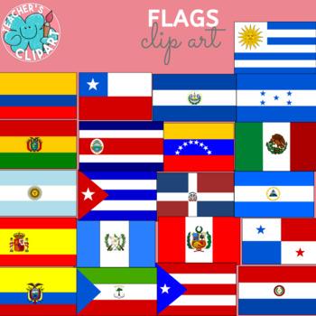 Spanish speaking countries FLAGS Banderas Países hispanohablantes clipart BUNDLE