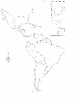 Blank Map Of Spanish Speaking Countries Spanish speaking countries map by Srta Sonrisa | TpT Blank Map Of Spanish Speaking Countries
