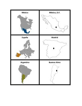 Spanish-speaking countries map Concentration games