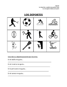 Spanish sports vocabulary guided notes