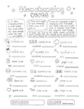 Spanish stem changing verbs conjugation worksheet no prep practice