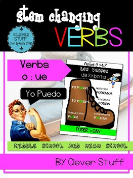 Spanish stem-changing verbs (o>ue) in present tense.