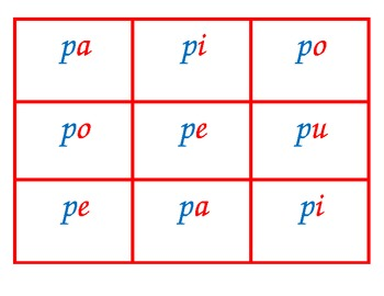 Spanish syllable Bingo P