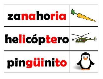 Spanish syllable blending center - Leyendo palabras con 4 o mas silabas