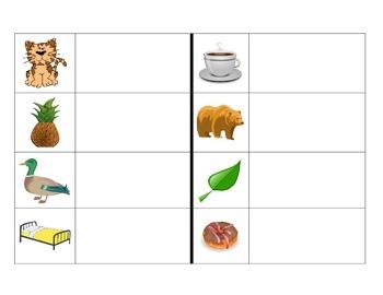 Spanish syllable blending center- Leyendo palabras con 2 silabas