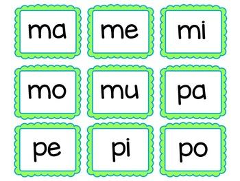Spanish syllable cards / Tarjetas con las sílabas