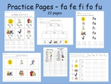 Spanish syllables Practice Pages da de di do du and fa fe fi fo fu