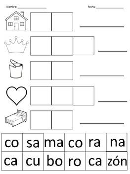 Spanish syllables cut and paste / Sílabas de español para cortar y pegar