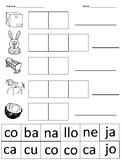 Spanish syllables cut and paste (letter C) / Corta y pega sílabas de la letra C