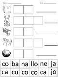 Spanish syllables cut and paste (letter C) / Corta y pega