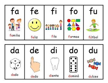 Spanish syllables for small groups