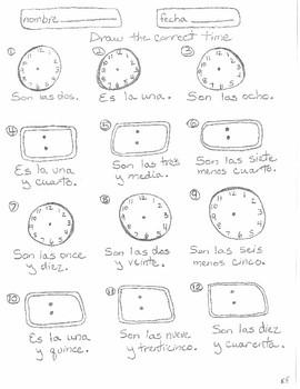 Spanish telling time