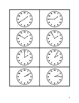 Spanish telling time flashcards 5 minute intervals