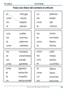 Spanish  Test Yourself  gender, articles, plural