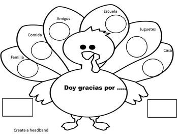 Spanish thanksgiving Activity (Headband) Dia de Accion de Gracias