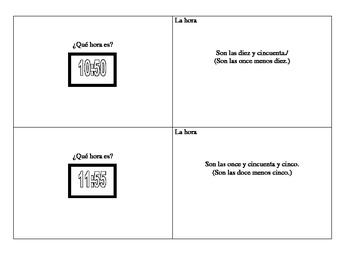 Spanish time flashcards to print and cut out
