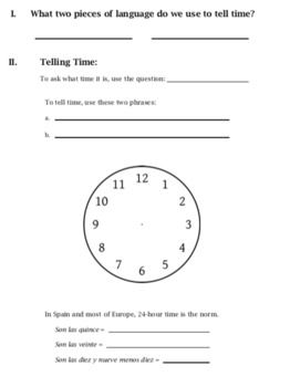 Spanish time notes ¿Qué hora es?