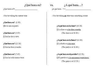 Spanish time: que hora es vs. a que hora