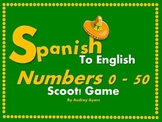 Spanish to English Scoot! Game Numbers 0 - 50