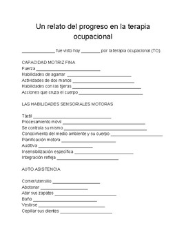 Spanish translation of a standard OT progress report