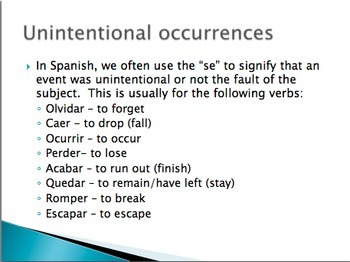 Spanish unintentional occurrences and passive se