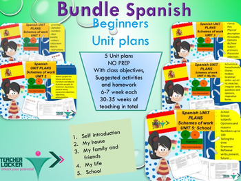 Spanish Unit plans bundle (5 complete Unit plans) for beginners