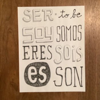 Spanish verb SER ~poster ~bulletin board ~word wall ~present tense verb ~NO PREP